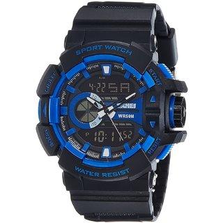 SKMEI Analog-Digital WR-50M Blue Black Dial Mens Latest Sport Watch For Men Boys