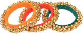 Loops N Knots  Multi-Colour Fashion Jewellery Ghungroo Bangle Set For Girls Women-Traditional Wear Bangle Set Of 3