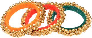 Loops N Knots  Multi-Colour Fashion Jewellery Ghungroo Bangle Set For Girls Women-Traditional Wear Bangle Set Of 3