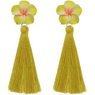 JewelMaze Yellow Thread Gold Plated Tassel Earrings