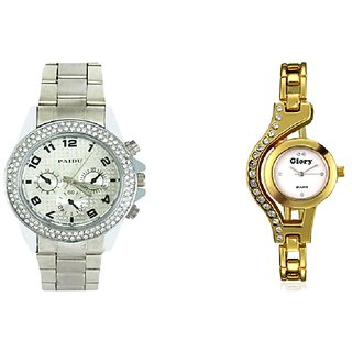 PMAX Silver Paidu and Gold Diamond Glory Analog Couple Watches