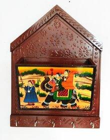 Royals Wooden Wall Hanging Magazine Stand Document Holder Magazine Racks Paper Organizer Storage Box Key Ring Holder