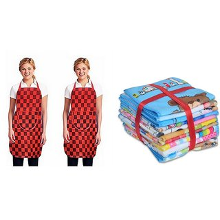 K Decor Set Of 1 Non Woven Apron + 3 Face Towel