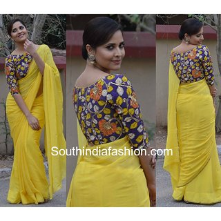 15745b9c76534 Buy Indian Beauty Yellow Cotton Silk Plain Saree With Blouse Online   ₹555  from ShopClues