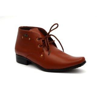 Shoegaro Men's Brown Synthetic Leather High Ankle Formal Shoes