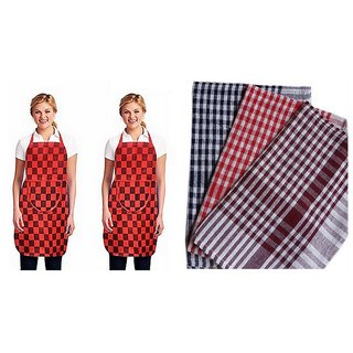 K Decor Set Of 1 Non Woven Apron + 3 Kitchen Napkin