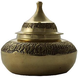 Traditional Handmade Brass Rounded Kumkum/Sindoor Box