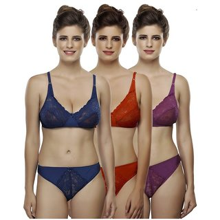 HakimiMulti Color&print  Set Of 3 Women's Bra & Panty Sets Combo