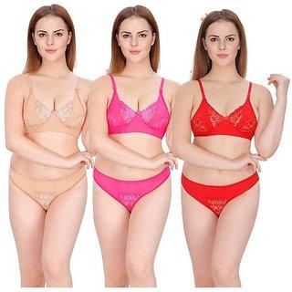 Hakimi Women Multi Color&print  Set Of 3 Women's Bra & Panty Sets Combo