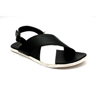 Shoegaro Men's Black Synthetic Leather Smart Casual Sandals