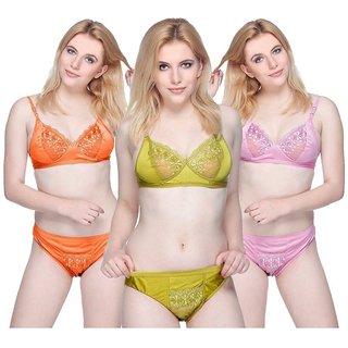 Hakimi indian Multi Color&print  Set Of 3 Women's Bra & Panty Sets Combo