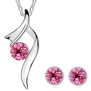 Om Jewells Lips Pink Crystal Pendant Necklace Set with Chain PS1000721C