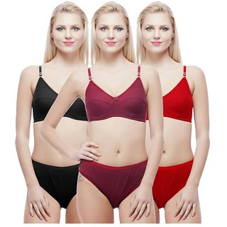 Hakimi non-padded  Multi Color&print  Set Of 3 Women's Bra & Panty Sets Combo
