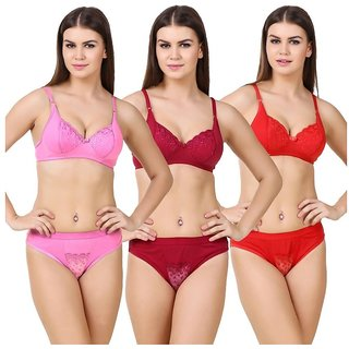Hakimi lol Multi Color&print  Set Of 3 Women's Bra & Panty Sets Combo