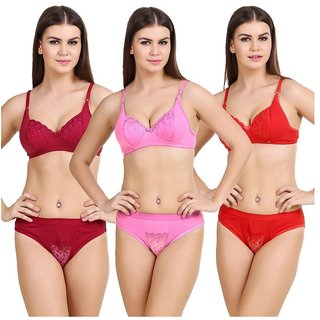 Hakimi indian Multi Color&print  Set Of 3 Women's Bra & Panty Sets Combo