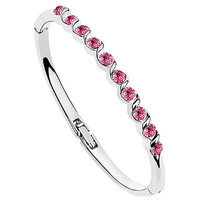 Om Jewells Rhodium Plated Fashionable Crystal Bangle Bracelet with two color options for Women  Girls BR1000005C