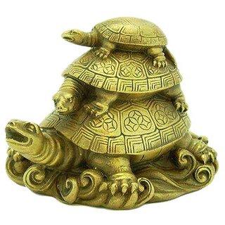 only 4 u  Fengshui 3 Tier Tortoise Showpiece for Longevity, Love  Harmony of Family - 8 cm (H)