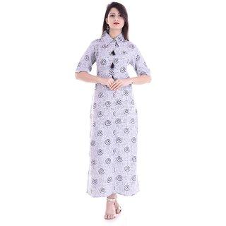 Alobha Cotton Half Sleeves Collar Style Printed Long  Kurtas  Kurtis for Women's
