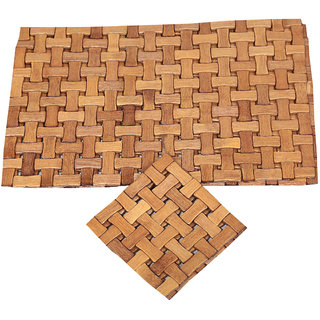 Kuber Industries Bamboo Dining Table Placemats Wtth Tea Coaster Set of 6 Pcs  18 x 12 Inches (Heat Insulater) Brown