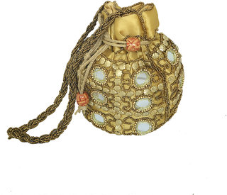 Kuber Industries Ethnic Mirror Work Rajasthani Potli Bag / Clutch / Bridal Clutch ( Golden ) - BG42