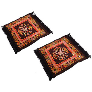 Kuber Industries Brown Velvet Pooja Aasan, Pooja Mat Set of 2 Pcs (2 Ft X 2 Ft)