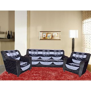 Kuber Industries Sofa Cover Heavy Cloth Net 5 Seater Set 10 Pieces Black