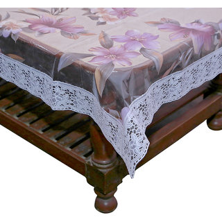 Kuber Industries Center Table Cover Purple Flower Design Printed Transparent Sheet  40*60 Inches (White Lace)