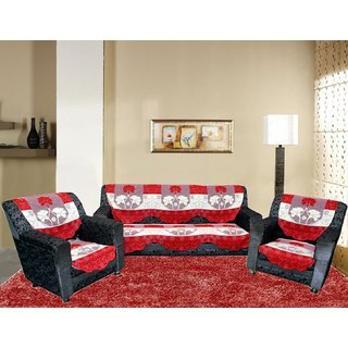 Kuber Industries Sofa Cover heavy Cloth Net 5 Seater Set -10 Pieces- Red & Cream (Exclusive Print)