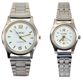 SONIXby Kingz Traders White Mechanical Couple Watch