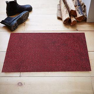 Kuber Industries Dirt Rubb Off Clean Footwear PVC Thick Doormat for Offices,Hotel ,Restaurtaurant, Home,Shop Color- Maroon Size : 60 cm x 38 cm x 1.5 cm