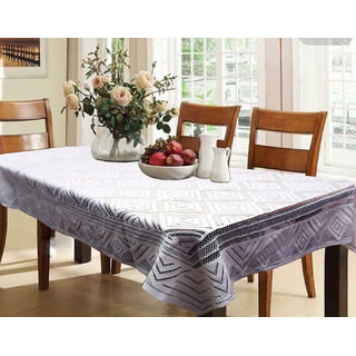 Kuber Industries Dining Table Cover White Cloth Net For 6 Seater 60*90 Inches (Self Design)