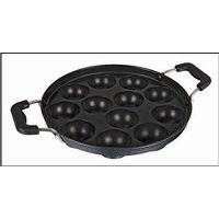 Kuber Industries Heavy Weight Non-Stick 12 Cavity Appam Patra Side Handle with lid, Black (Appam05)