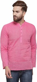 RG Designers Pink Cotton Plain Full Sleeve short kurta for men