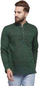RG Designers Dark Green Cotton Plain Full Sleeve short kurta for men