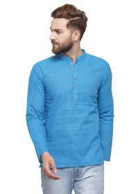 RG Designers Blue Cotton Plain Full Sleeve short kurta for men