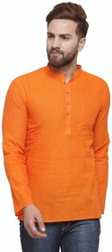 RG Designers Orange Cotton Plain Full Sleeve short kurta for men