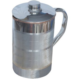 Kuber Industries Steel Copper Jug Pitcher 2500 ML Good Health Benefit For Storage & Serving Water (Inner Copper) (JC03)