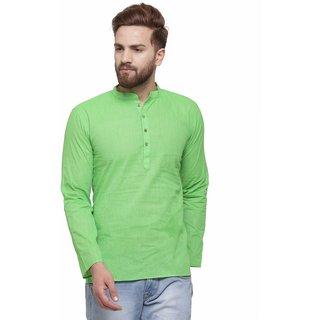 RG Designers Pista Green Cotton Plain Full Sleeve short Kurta for men