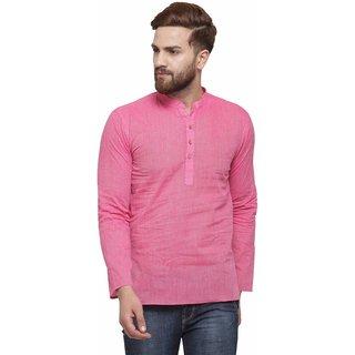 RG Designers Pink Cotton Plain Full Sleeve short kurta for men