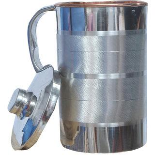 Kuber Industries Steel Copper Jug Pitcher 2500 ML Good Health Benefit For Storage & Serving Water (Inner Copper) (JC06)