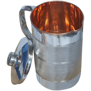 Kuber Industries Steel Copper Jug Pitcher 2500 ML Good Health Benefit For Storage & Serving Water (Inner Copper) (JC07)
