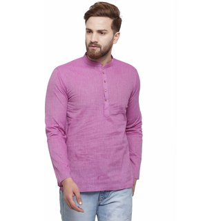 RG Designers Purple Cotton Plain Full Sleeve short kurta for men