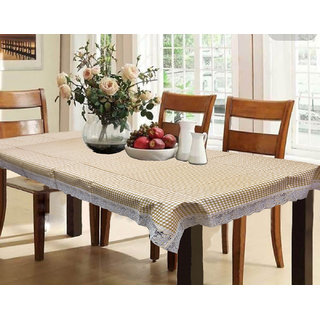 Kuber Industries Dining Table Cover Waterproof Checkered 6 Seater 60X90 Inches Light Brown Color ( Exclusive Design)