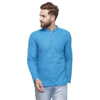 RG Designers Blue Cotton Plain Full Sleeve short kurta for men