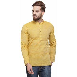 RG Designers Yellow Cotton Plain Full Sleeve short kurta for men