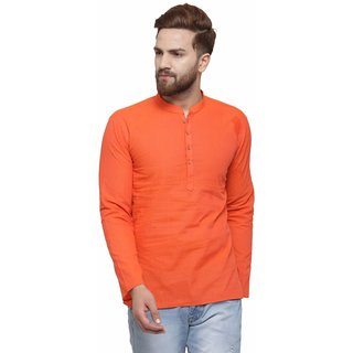 RG Designers Orange Cotton Plain Full Sleeve short kurta for men