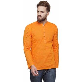 RG Designers Peach Cotton Plain Full Sleeve short kurta for men