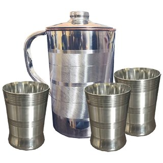 Kuber Industries Copper Jug Pitcher 2500 ML Good Health Benefit For Storage & Serving Water With 3 Steel Glass (JC18)
