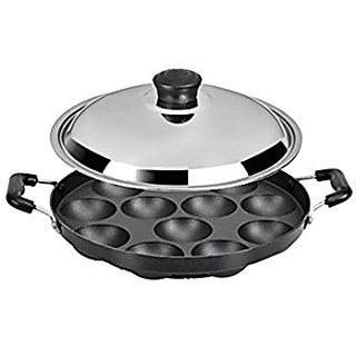 Kuber Industries Heavy Weight Non-Stick 12 Cavity Appam Patra Side Handle with lid, Black (Appam01)