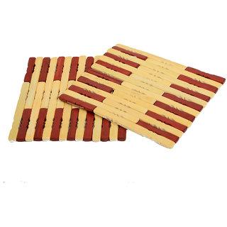 Kuber Industries Bamboo Wooden Coaster,Pan Pot Holder Heat Insulation Pad,Square 16 x 16 cm,2 Piece Set -KU126